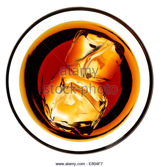 Overhead image of whiskey or scotch drinks with ice - Stock Image