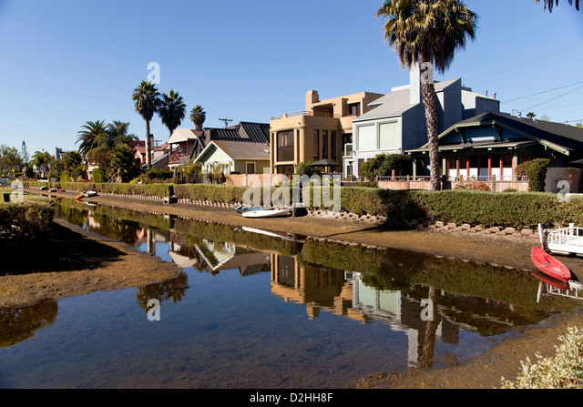 canal and homes in Venice, Los Angeles, California, United States of America, USA - Stock Image