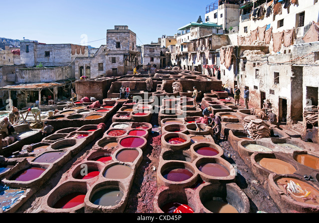 Chouwara traditional leather tannery in Old Fez, vats for tanning and dyeing leather hides and skins, Fez, Morocco, - Stock Image