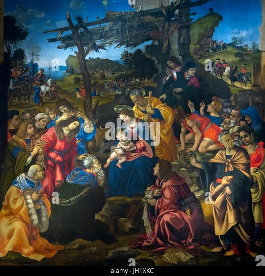 Adoration of the Magi, by Filippino Lippi, 1496, Uffizi Gallery, Florence, Tuscany, Italy, Europe - Stock Image