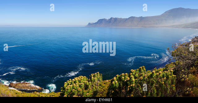View of Kogelberg Nature Reserve area (viewed towards Cape Point over ocean from Clarence Drive) - Western Cape - Stock Image