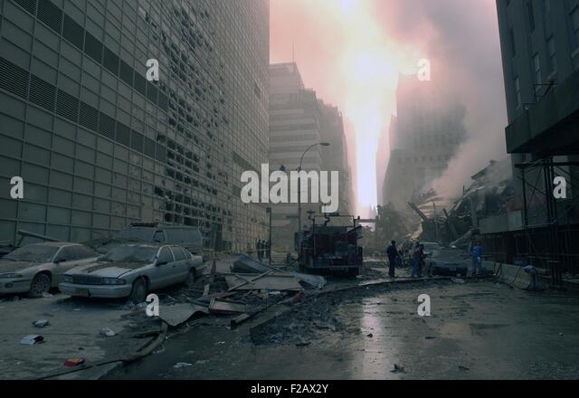 The wreckage of WTC 7, the newest building in the complex which collapsed at 5:20 PM on 9-11. Photo was taken on - Stock-Bilder