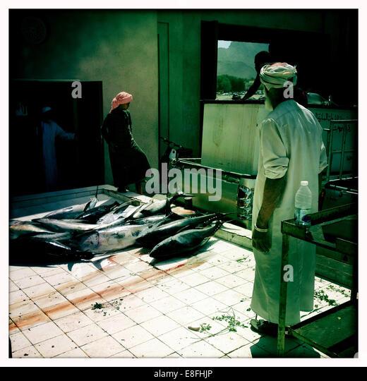 Oman, Nizwa, Yellowfin tuna being delivered - Stock Image