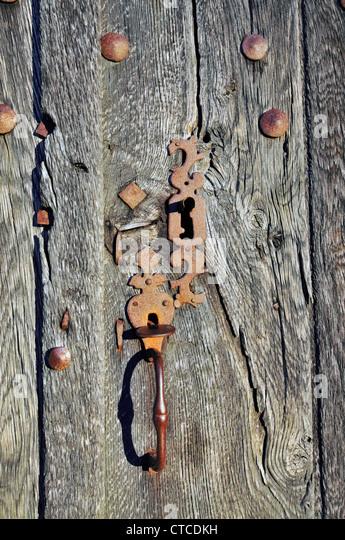 Church door lock, France. - Stock Image