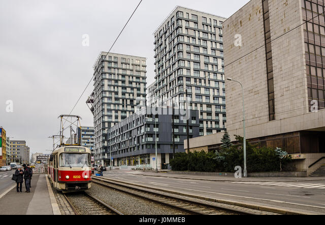 The Prague tramway (streetcar) network is the largest such network in the Czech Republic. - Stock Image