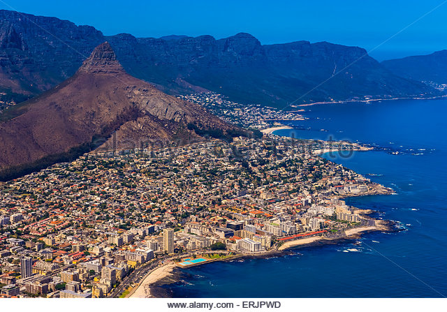 Aerial View, coastline, Cape Town, South Africa. - Stock Image