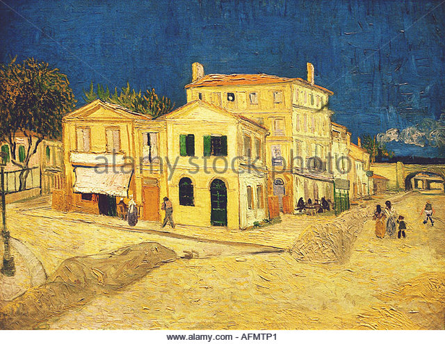 'fine arts, Gogh, Vincent van, (1853 - 1890), painting, 'Vincent's house at Arles', 1888, oil on - Stock Image