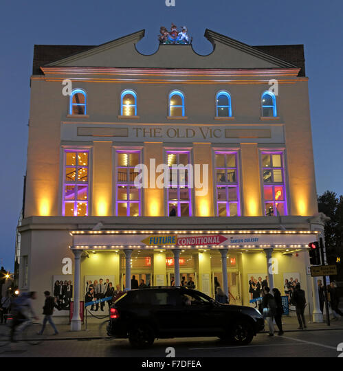 The Old Vic Theatre at dusk,Waterloo Rd,Borough of Lambeth,Greater London,England UK - Stock Image