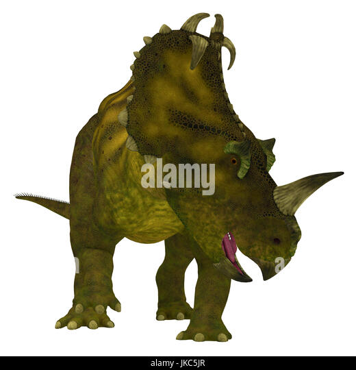 Centrosaurus is a herbivorous Ceratopsian dinosaur that lived in Canada in the Cretaceous Period. - Stock Image