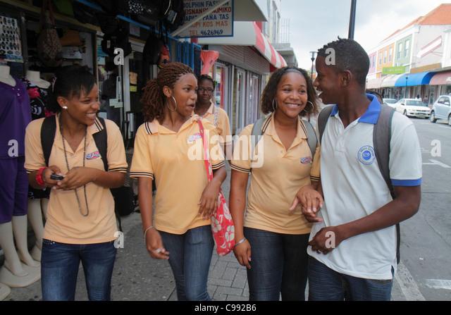 Curaçao Netherlands Antilles Dutch Willemstad Otrobanda Breedestraat UNESCO World Heritage Site street scene - Stock Image