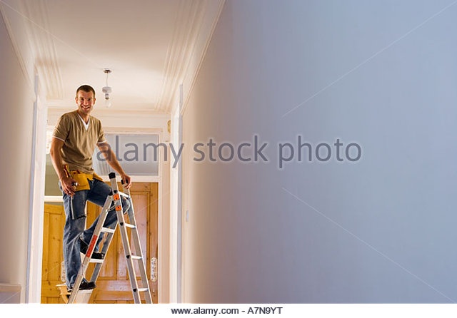 Man with toolbelt doing DIY at home standing on step ladder below ceiling light fixture portrait - Stock Image