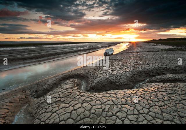 Mud Flats Heswall Beach The Wiral Cheshire - Stock Image