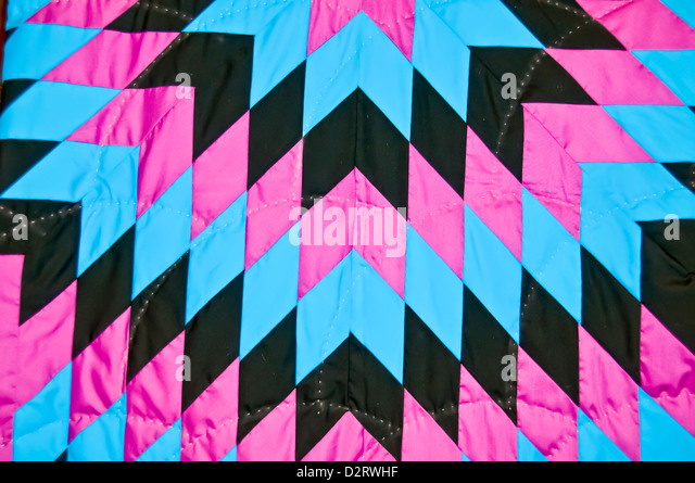 Closeup of Native American blanket with Navajo designs - Stock Image