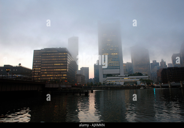 Federal Reserve Bank and other Buildings in Boston Massachusetts USA on a Foggy Day with Copy Space - Stock Image