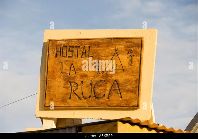 Chile San Pedro de Atacama hostel la ruca sign - Stock Image
