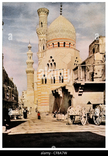 1926 Blue Mosque of Ibrihim Agha Cairo, Egypt - Stock Image