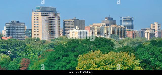 Toronto city skyline view with park and urban buildings - Stock Image