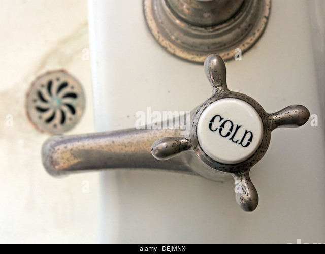Cold tap in Bathroom at Barrington Court, Ilminster, Somerset , UK TA19 0NQ - Stock Image