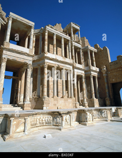 antique Ancient world antiquity historical Libya Roman Roman ruins Sabratha theater UNESCO world cultural - Stock Image