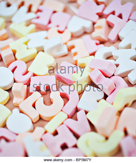 Close up of vibrant candy alphabet - Stock Image