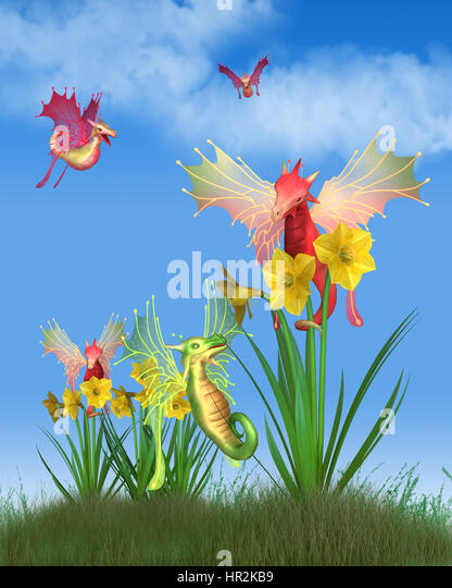 Fantasy illustration of cute red and green Welsh dragons flying around yellow daffodils on a sunny St David's - Stock Image