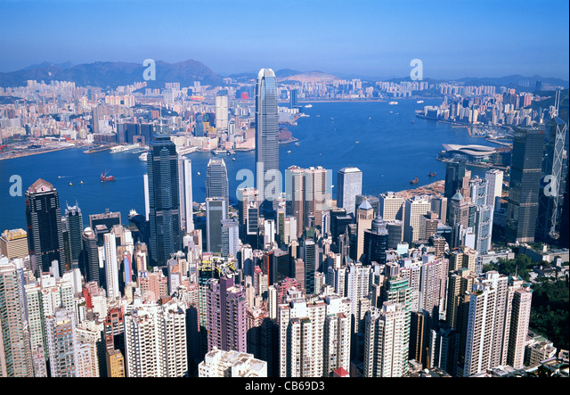 China, Hong Kong, View from Victoria Peak, City Skyline and Victoria Harbour - Stock Image