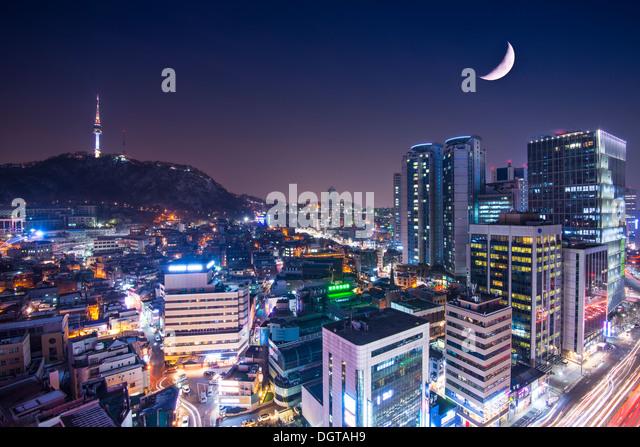 Seoul, South Korea with Namsan Mountain. - Stock Image