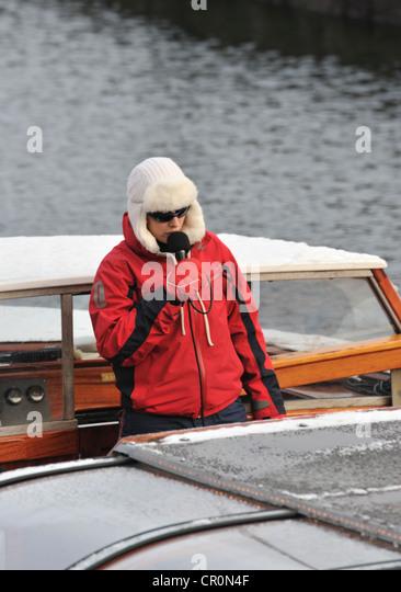 Boat cruise guide, Copenhagen, Denmark - Stock Image