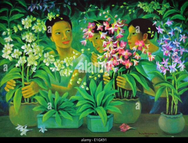 Anita Magsaysay-Ho, 'Women with Orchids' 1992, oil on canvas - Stock Image