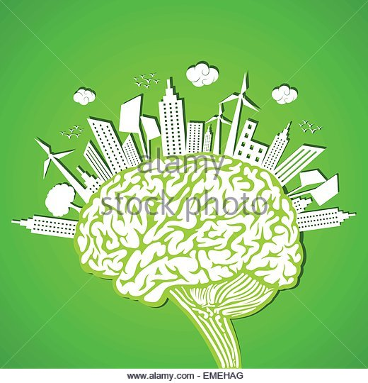 Ecology concept with brain - Stock-Bilder