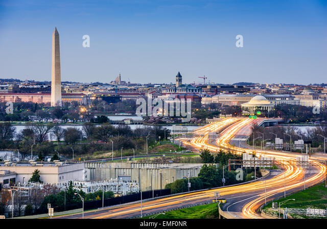 Washington, D.C. cityscape with Washington Monument and Jefferson Memorial. - Stock Image