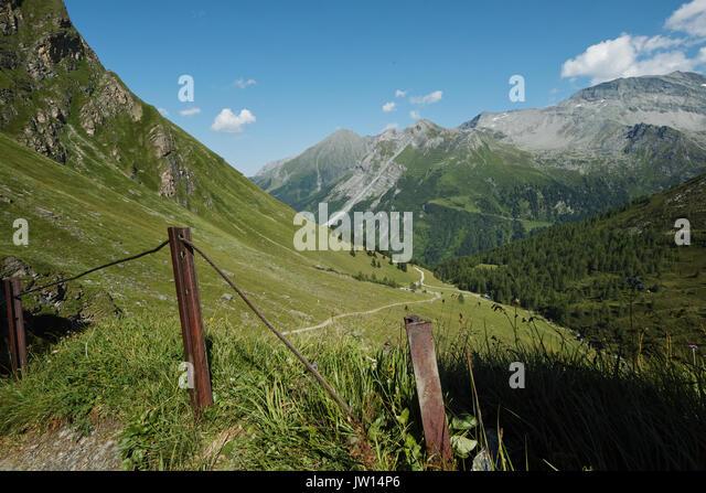 Austrian Alps-outlook on Tuxer Joch Weitental - Stock Image