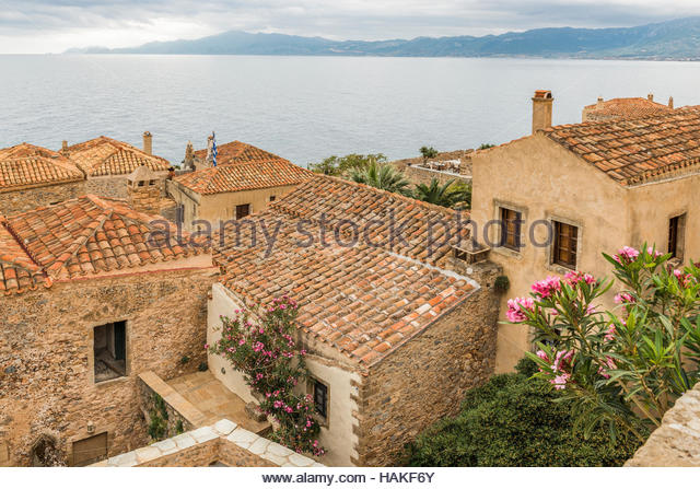 Elevated View of Rooftops and Argolikos Gulf, Monemvassia, Peloponnese, Greece - Stock Image