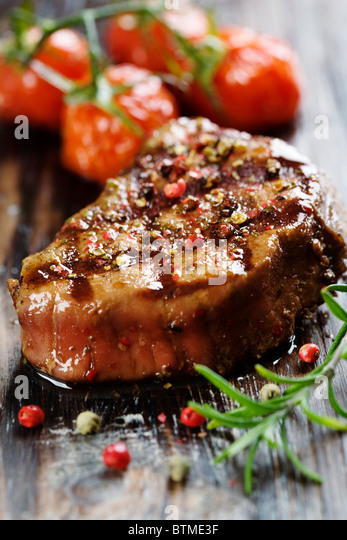 sirloin beef covered in pepper - Stock Image