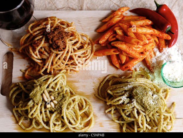 Pasta with assorted  pesto - Stock Image