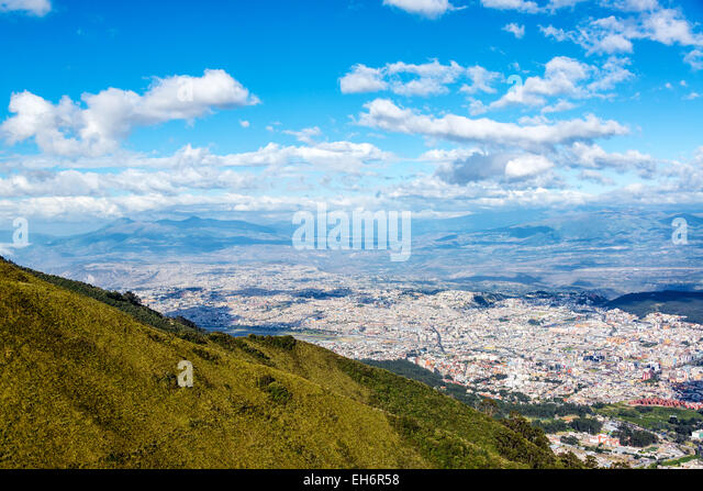 View of Quito, Ecuador from high above the city - Stock Image