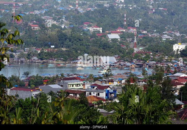 View of Manokwari harbor in West Papua - Stock Image