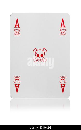 Ace of skull & cross bones playing card - Stock Image