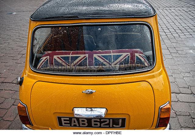 A back window of a mini car, Lincolnshire, England, UK - Stock Image