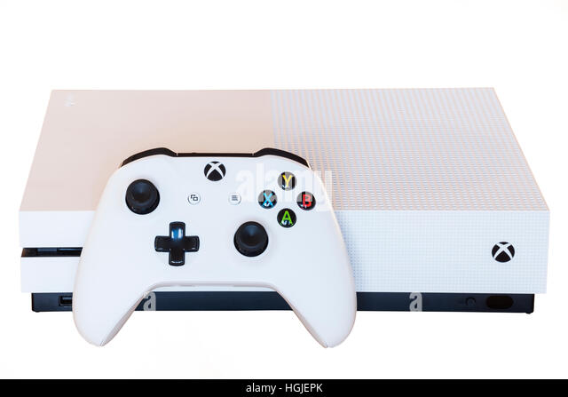 An XBOX ONE S games console and controller on a white background - Stock Image