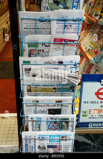 Arabic and foreign newspapers in London - Stock Image