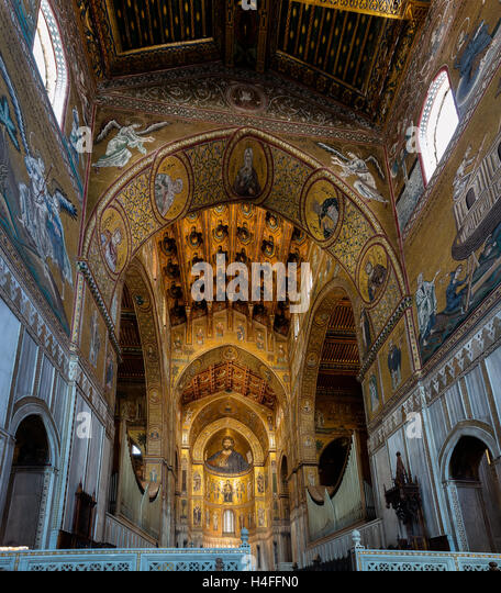 Interior of the Cathedral of Monreale, one of the greatest examples of Norman architecture in t - Stock Image