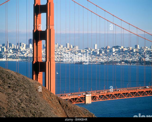 20th Century America Architecture Attraction Bay Bridge Cable California Cities City Cityscape Coast Color - Stock Image