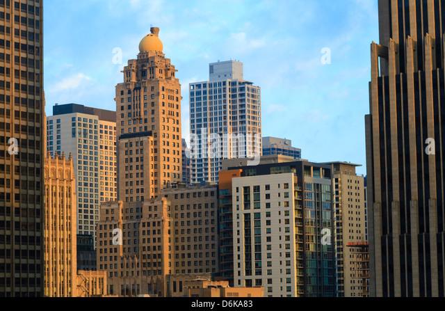 Skyscrapers, Chicago, Illinois, United States of America, North America - Stock Image