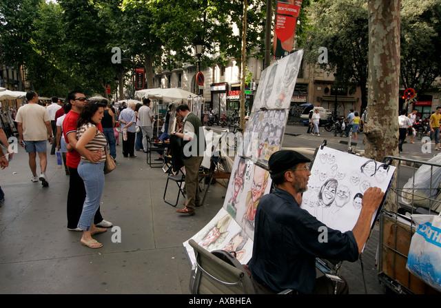 Spain Barcelona Las Ramblas arist for portraits - Stock Image
