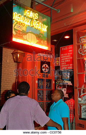Louisiana New Orleans French Quarter Bourbon Street Fais Deaux Deaux bar nightclub nightlife business alcoholic - Stock Image