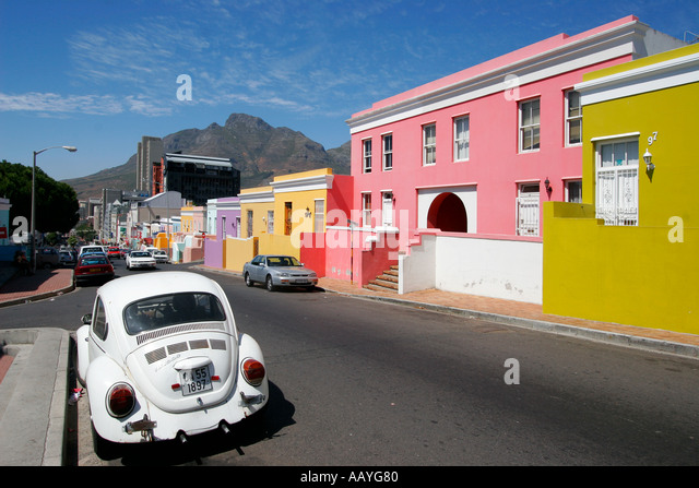 cape town Bo Kaap colorful facades in area of cape muslims VW beetle  - Stock Image