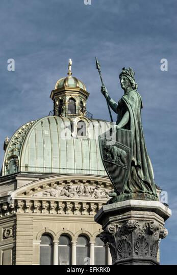 Federal Palace of Switzerland, Statue, Berne, Bern, Switzerland - Stock Image