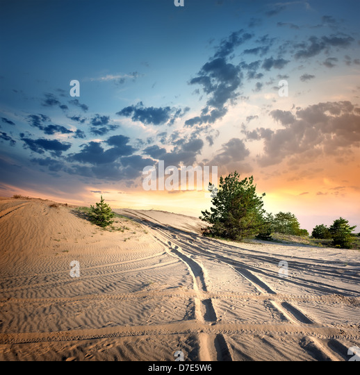 Country road in the desert at sunset - Stock Image