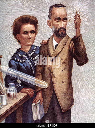 MARIE CURIE  French physicist and husband Pierre in a 1904 illustration which incorrectly shows x-rays as rather - Stock-Bilder